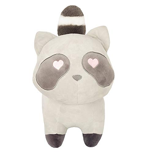 (FRANKIE ZHOU Stuffed Animals Plush Raccoon Toys 12'' Standing Soft and Lovely with Heart-Shaped Eyes Best Gift for All)
