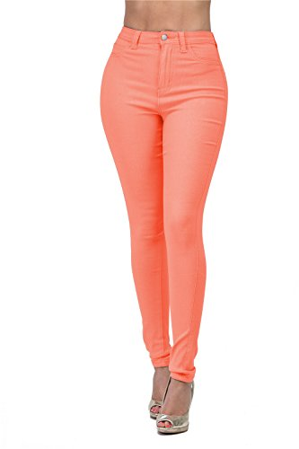 LOVER BRAND FASHION High Waisted-Rise Ladies Colored Denim Stretch Skinny Destroyed Ripped Distressed Jeans for Women, Coral, Large