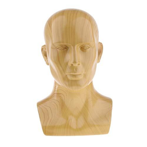 - Prettyia Lightweight Resin Head Mannequin Head Wig Display Styling Head for Display Glasses, Caps - Imitation Wood Grain