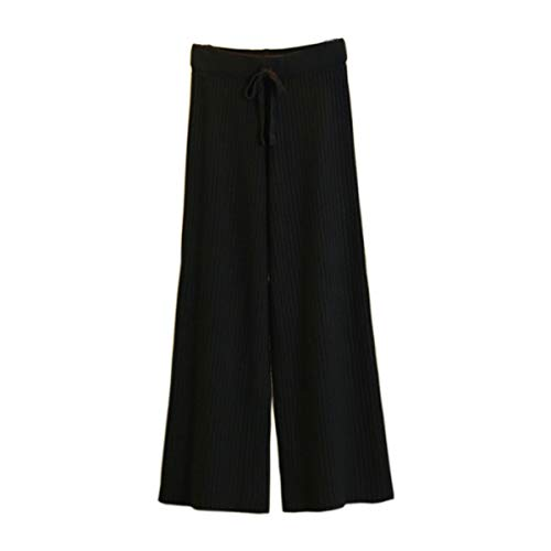 - Women's Knit Elastic Waist Pull On Pants Cashmere Pants Thick Straight Pants Casual Wool Pants,(Fit Size US 6-10) Black