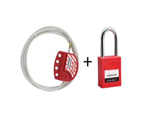 Kalmar Lock, Cable Lock Adjustable Universal Cable Lock Valve Safety Padlock Wire Tag Energy Lock, Cable Diameter 4mm (Send Padlock), Red High Security Lock Best for Bicycle Outdoors