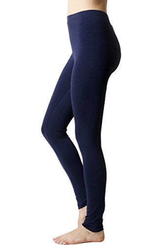 JNTOP Co. Women's Elasticized Waist Cotton Leggings Navy Medium