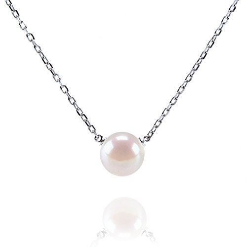 (PAVOI Handpicked AAA+ Freshwater Cultured Single Pearl Necklace Pendant | White Gold Necklaces for Women)