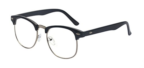 Outray Vintage Retro Classic Half Frame Horn Rimmed Clear Lens Glasses for Men Women 2135c2 Black/Silver]()