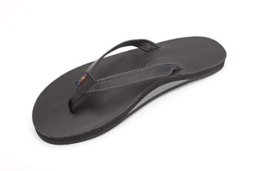 Rainbow Sandals Women's Single Layer Premier Leather Narrow Strap, Black, Ladies Small / 5.5-6.5 B(M) US