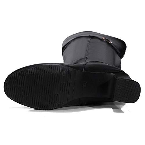 Souple À Cuissardes Femmes Chaussures Taoffen Bottes Noir Talon RxP5U8q8