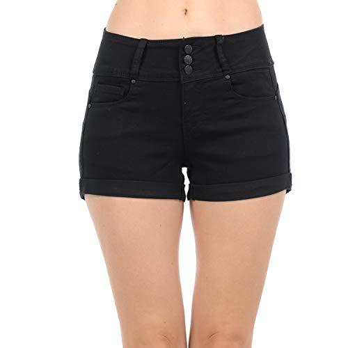 NioBe Clothing Women's Juniors Mid Rise Wax Jeans Push up Denim Shorts (Medium, Black) by NioBe Clothing