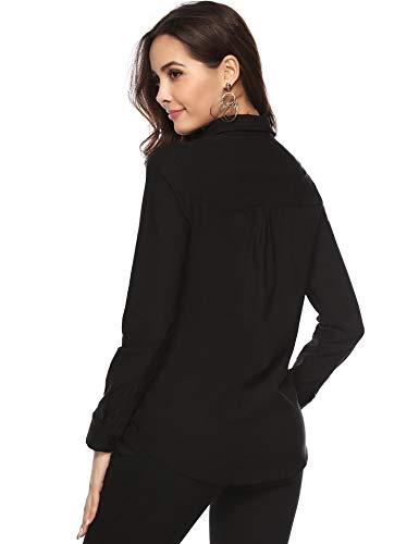 Classique Bouton Bureau Chic Casual Manches Chemisier Noir Top Avec Femme Habiller Longues Chemise Élégante Affaires XTqWWvHZ5a