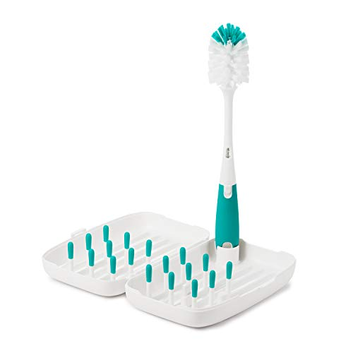 (OXO Tot On-The-Go Drying Rack with Bottle Brush, Teal)