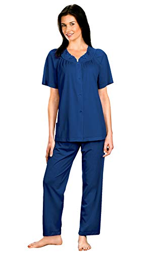 Shadowline Women's Petals Plus Size Short Sleeve Pajama, Navy, 44