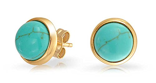 Simple Blue Compressed Turquoise Bezel Set Round Dome Button Stud Earrings For Women 14K Gold Plated Sterling Silver