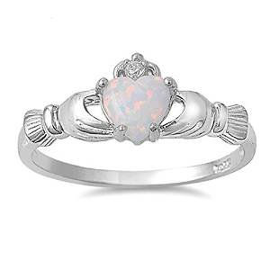 Oxford Diamond Co Irish Claddagh Lab Created White Opal Ring Sterling Silver Sizes 3-10 (11)