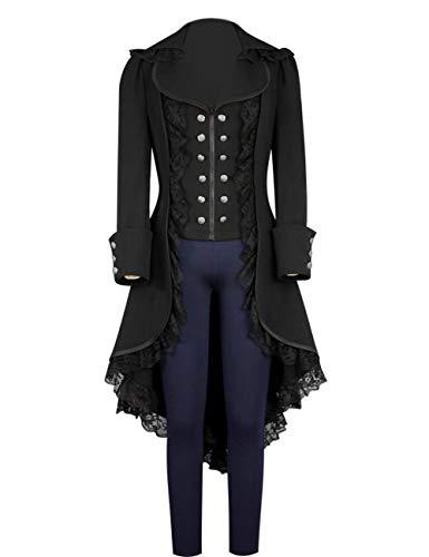 Dasior Women's Gothic Tailcoat Steampunk Jacket urn-Down Collar