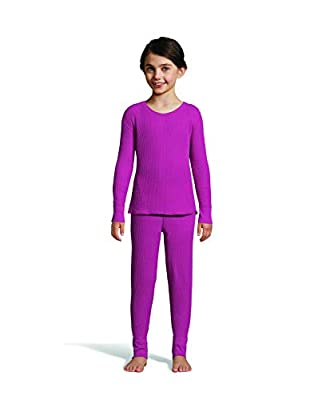 Hanes Girl's Waffle Knit Thermal Set with FreshIQ, X-Temp Technology & Organic Cotton