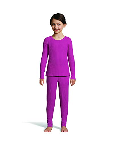 Hanes Girl's Waffle Knit Thermal Set with FreshIQ, X-Temp Technology & Organic Cotton Hot Pink ()