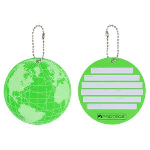 Protege Neon Round EZ ID Luggage Tags, 2 Pack Green by Protege (Image #1)