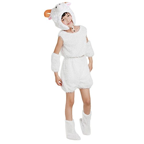 Halloween Kids Girls Boys Animal Costume, Sheep Role Play Cosplay Dress Up Suit (Height:140cm/ (Sheep Costume For Christmas Play)