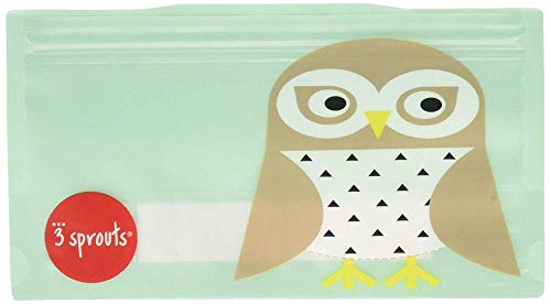 Sprout Mini - 3 Sprouts 2 Piece Snack Bag Reusable and Washable Travel Food Bags for Kids Lunch, Mint, Owl