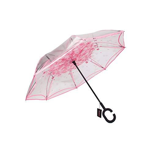 PREtty-2 Inverted Folding Reverse Umbrella Double Layer Unbrella Cloth Umbrellas Transparent Unbrellas,Pink