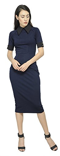 Marycrafts Women's Contrast Short Sleeve Collar Midi Dress Work Office 20 Indigo