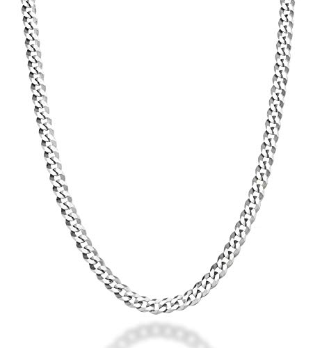 (MiaBella Solid 925 Sterling Silver Italian 3.5mm Diamond Cut Cuban Link Curb Chain Necklace for Women Men, 16
