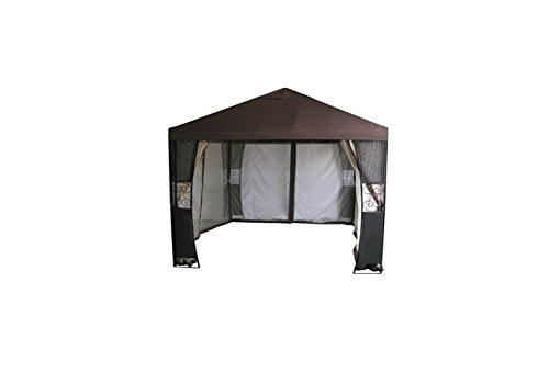 DC America GONSW84188 Steel Gazebo with Mosquito Net and Wicker Post, 10 by 10-Feet