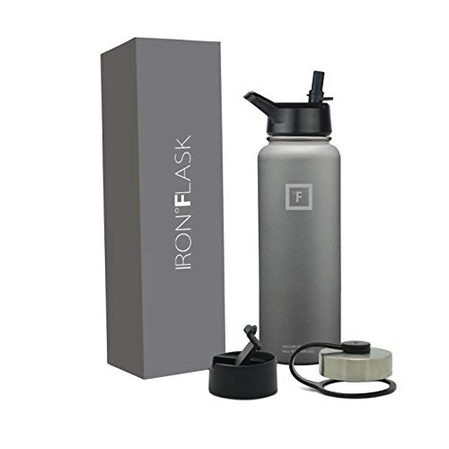 Iron Flask Sports Water Bottle - 22oz, 32oz, 40oz, or 64oz, 3 Lids, Vacuum Insulated Stainless Steel, Hot Cold, Modern Double Walled, Simple Thermo Mug, Hydro Metal Canteen (Graphite, 40 Oz)