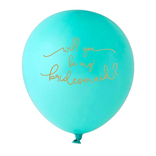 Will You Be My Bridesmaid Designer Printed Balloons 12 Pack (Tiffany Blue and Gold)