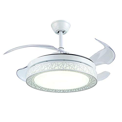 Modern Fan Ceiling Light with Remote Control Three-Color Dimmable Bedroom Fan Chandelier Blade Retractable Mute Indoor Fan Light 42 Inch (White) (Chandelier Bedroom White)
