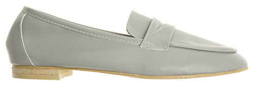 AnnaKastle Womens Soft Leather Casual Penny Loafer Flat Slip On Shoes Gray tJ9JXO6F3