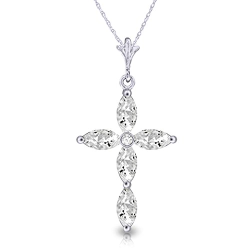 """Galaxy Gold 1.23 Carat 14k 18"""" Solid White Gold Necklace with Genuine Diamond and Natural White Topaz Cross Pendant"""