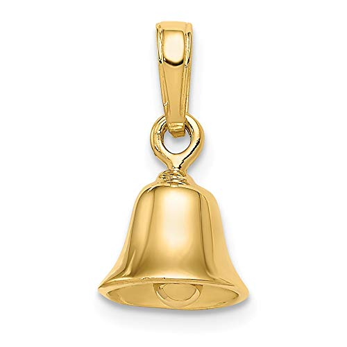 Jewel Tie 14k Gold Polished Moveable Wedding Bell Ringing Charm Pendant - (Yellow Gold, 0.63 Inch Height)