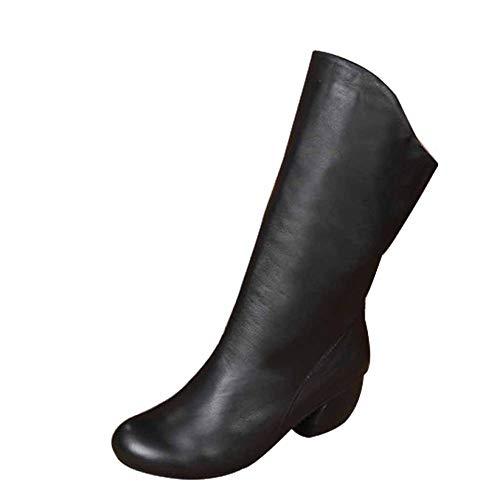 Black Comodi Stivali Casual Martin Invernali Con Lavoro Tacco Da Scarpe Utility Zip Donna Medio xRqOxaw