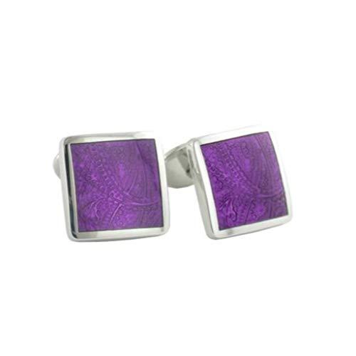 - David Donahue Men's Sterling Silver Light Purple Paisley Cufflinks (CL030202)