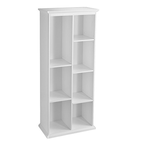Modern, Transitional Manuel Tall White Display Shelf with Five (5) Adjustable and Two (2) Fixed Shelves (OS4653ZH). Asymmetrical Design Bookshelf. Assembly Required by Upton Home