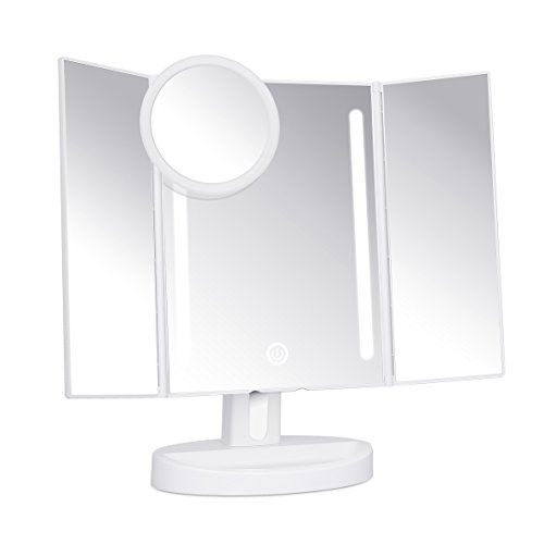 trifold led lighted makeup mirror with touch screen kedsum dimmable natural light vanity big. Black Bedroom Furniture Sets. Home Design Ideas