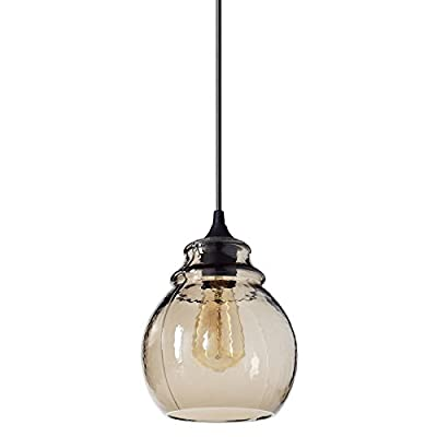 "Casamotion Pendant Light Handblown Glass Drop Hanging Light, Glass Bell Pendant, Brown Glass Shade, Matte Black Finish, 11'' - Pendant Dimensions: 7.2""*7.2""*11"" glass shade, 70.8"" adjustable hard wire cord/chain. Bulb NOT included. Easy-to-install. MOULD&SEAMS: Multi-piece MOULD creates the hammered glass light pattern but also the SEAMS. Hand Blown Glass Light: Each Pendant Lamp is individually mouthblown and handcrafted by skilled craftsmen. Minor Color And Shape Variations Are Possible. - kitchen-dining-room-decor, kitchen-dining-room, chandeliers-lighting - 313Z74Y5BfL. SS400  -"
