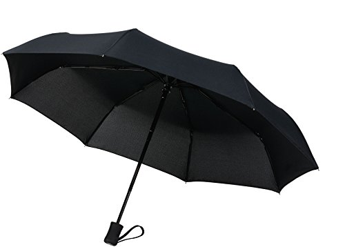 60 MPH Windproof Travel Umbrellas'Guaranteed Lifetime Replacement Program' Auto Close Auto Open Compact Umbrella Won't Break If Flipped Inside Out - A Customer Service Supported Product, Black