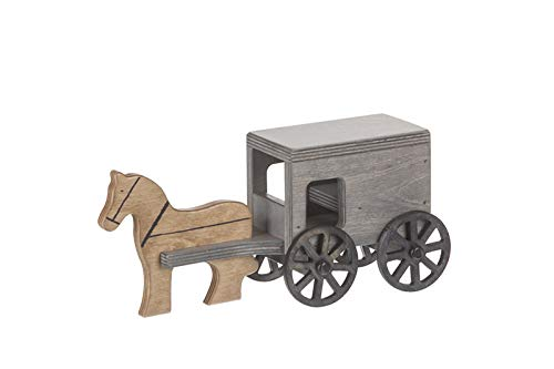 Small Wooden Horse & Buggy - Black/Gray Finish - Amish Made in The USA