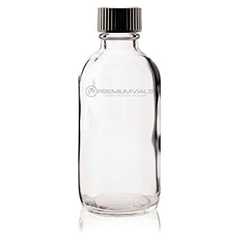 d09f65c6dcdf 4 Oz (120 ml) CLEAR Boston Round Glass Bottle w/Cap - Pack of 6