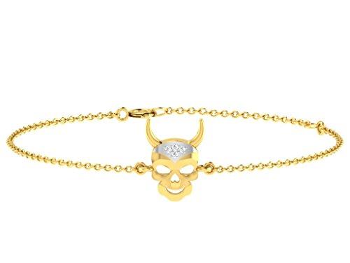 Or Jaune 18 ct Bracelet Diamant en forme de crâne, 0.01 Ct Diamant, GH-SI, 2.37 grammes.