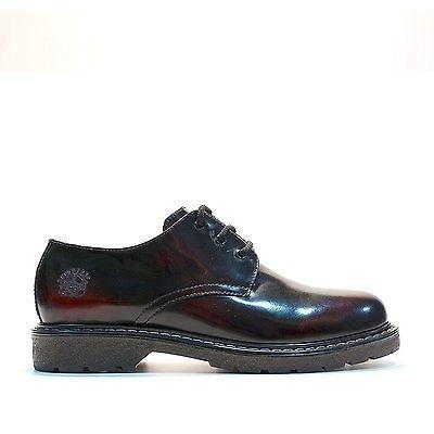 Grinders Percival Burgundy Leather Unisex Shoes 3 Eyelets Steel Cap Combat sW9xN5JI