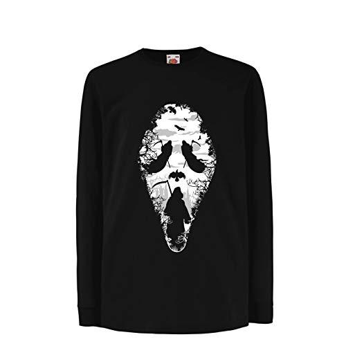 lepni.me Kids T-Shirt Tribal Grim Reaper Scream - Death Creepy Scary (14-15 Years Black Multi Color)
