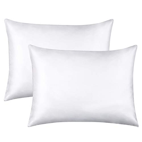 (FLXXIE Standard Silky Satin Pillowcases, Soft and Luxury, Pack of 2, Hidden Zipper, White)