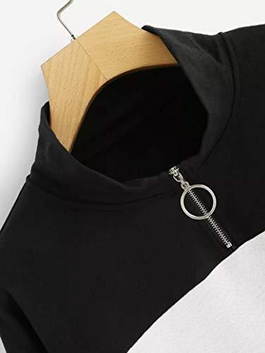 femminile Casual Pullover Felpa lunga Camicia camicetta Donna Felpa Donna da Zip Nero Felpa Casuale di Manica Autunno Up CLOOM Moda Donna Block Eleganti Felpa Color 517Fw6