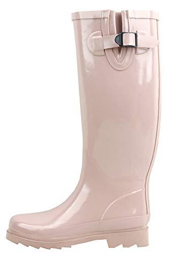 (Sunville Women's Mid Calf Waterproof Rubber Garden Rainboots,10 B(M) US,Blush)