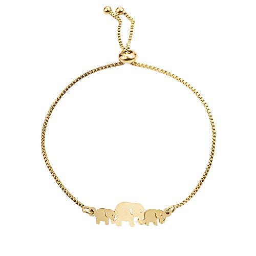 NOUMANDA Cute Elephant Bracelet Animal Family Mom Child Elements Stretch Bracelets Jewelry (Gold)