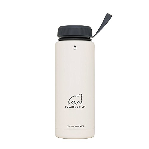 Polar Bottle Thermaluxe - Vacuum Insulated Stainless Steel Travel Mug, White Powder Coat {Standard Cap - Charcoal} 21 oz.