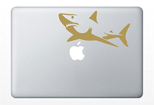 Great White Shark Laptop Decal | Car Vinyl Sticker (Gold - Vinyl Board Cork