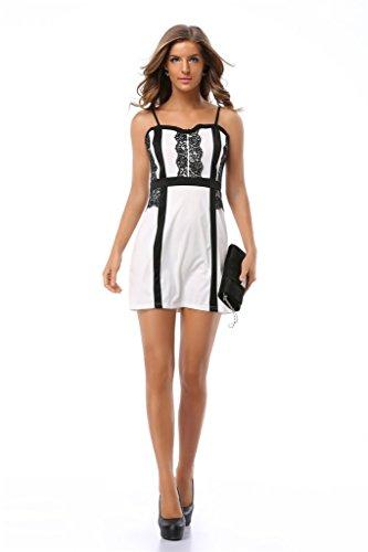 Fortuning's JDS Chic u. klassische Bügel-Art-Schwarz-Linie u. Spitze-Design auf Frontseite u. Taille weißem Minikleid